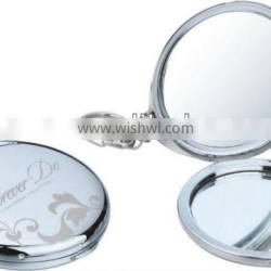 silver compact mirror with round shape for promotional