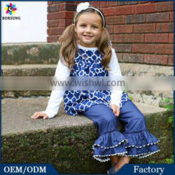 2PCS Fall Navy Flutter Sleeve Top And Ruffle Pants Outfits Girls Cotton Ruffled Giggle Moon Remake Outfits