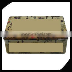 Customize packaging box can be customized rectangular shape tin packaging box with metal seamless lid/cookie tin box