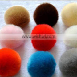 Fluffy and Colourful Rex Rabbit Fur Pom Poms Keychain For Decoration