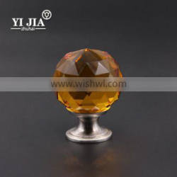 amber brushed nickel glass crystal cabinet door handles with brass base