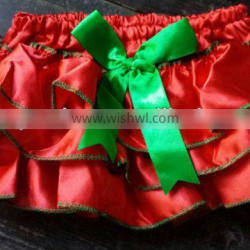 cute satin baby bloomer with ruffle diaper cover kids bloomer with bow