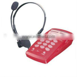 corded call center analog phone with earphone