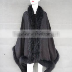 The Most Hot Curve Raccoon Fur Trim Shawl Wrap Cape for Women