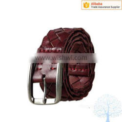 2016 Lastest weaving style leather belt brands, color customized