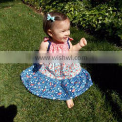 (CD943#RED)2-6Y 2016 top quality sleeveless baby girl dresses beans printed dresses for children