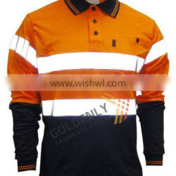 Men's 100% cotton long sleeve safety wear with reflecting tape