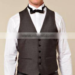High quality vest waistcoat Men's designer V-Neck buttoned waistcoat Formal business waistcoat Polyester Customized waiter vests