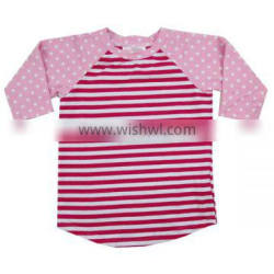 Wholesale 2016 high quality pink polka dots hot pink strip raglan kids shirt fashion t shirt