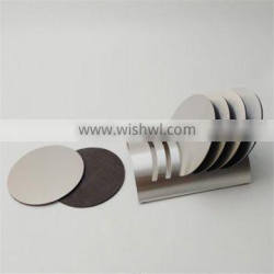 Promotion round shape stainless steel cup coaster for bar