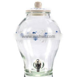 5L Chinese Art Glass Dispenser with Ceramic Lid