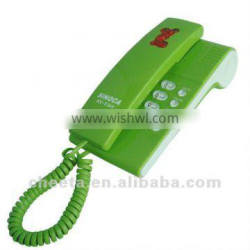 fresh green wall mounted telephone for home use
