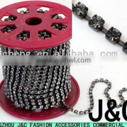 ss12 metal cup chain with black diomand rhinestone