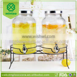 5L new wholesale large beverage dispenser with tap ,double glass juice jar