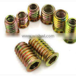 High quality zinc alloy inside and outside teeth wooden furniture insert nuts M6 M8