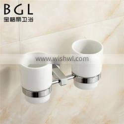 Modern design Bathroom accessories Brass Chrome finishing Double tumbler holders with ceramic cups