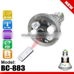 Bulb WiFi/AP IP Network DVR Camera with Real Light Control by Remote