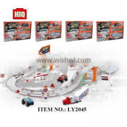 Hot metal BO racing car toys, city tracks toy train for kids