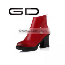 GD elegant chic pointed toe all-match rivets decoration booties shoes for ladies