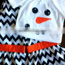 latest design Christmas Baby Clothes girl snowman pattern fashion suit