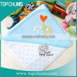Wholesale white color baby hooded towel with embroidery design