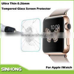 2015 New Products Ultra Thin 0.26mm 2.5D 9H Tempered Glass Screen Protector Film For i Watch
