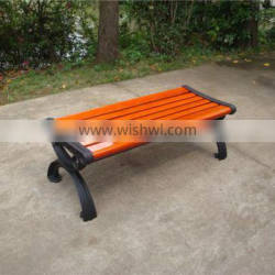 Camphor hardwood bench without back with cast aluminum bench legs