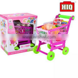 kids supermarket shopping toy car shopping trolley with kitchen set