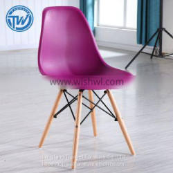 DC-6071 Topwell Modern Design Plastic Chair Dining Room Chair With Wood Legs Leisure Chair