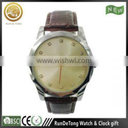 Generous polygon case diamond solar dial men leather watch