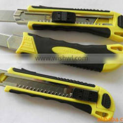 utility knife of three running blades,auto retractable utility knife with logo card