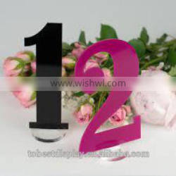exquisite color acrylic table numbers,acrylic wedding table numbers with base