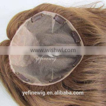 Wholesale 16 inch Human hair Blonde Color Toupee for women