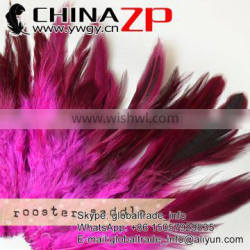 CHINAZP Wholesale Directly Dyed Hot Pink Rooster Saddle Feathers Strung