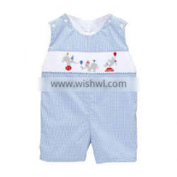 Blue Gingham Smocked Elephant Shortall