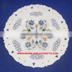 Lovely Handcrafted Marble Inlay Plate, Corporate Gift