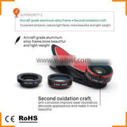 Mobile Phone Camera Lens 3 in 1 Clip-On Fish Eye Wide Angle Macro Lens