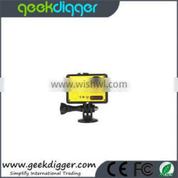 """Yellow AMK7000S 4K 2.0"""" LCD 170 Degree Wide Angle Waterproof Wifi Action Camera with Remote Control Watch"""