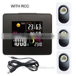 New! RF Wireless Weather Station Clock/ RCC weather station with Backlight weather forcast with 3 transmitters