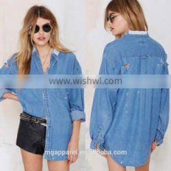 2017 Summer women distressed cotton shirt denim shirts wholesale