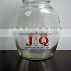transparent glass round jar