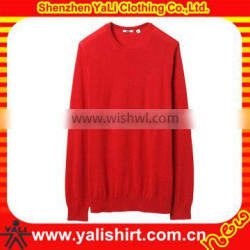 OEM newest comfortable mixed size red o-neck casual soft cotton blank fashion cashmere sweater