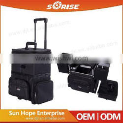 Factory Price Black Nylon Cosmetic Rolling Case