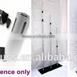 Telescoping Pipe and drape supports backdrop packing with Flight case