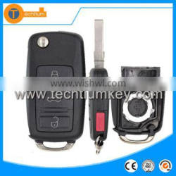 Car key house case fob with panic button and logo flip remote key cover blank for VW golf 4 5 3