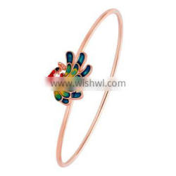 Chinese Manufacturer Custom Simple Rose Gold Enamel Peacock Design Handmade Bangles