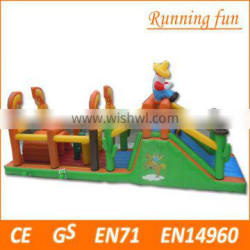 Most popular long inflatable obstacle with bounce jumping and water slide inflatable obstacle courses for sale