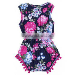 baby bubble floral playsuit baby pom pom rompers girl clothes
