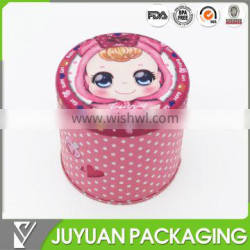 Custom gift round shape airtight metal candy tin boxes factory
