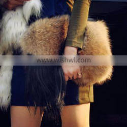 YR737 Street Fashion real Raccon Fur Handbag Raccoon Fur clutch bag Customize Factory direct sale